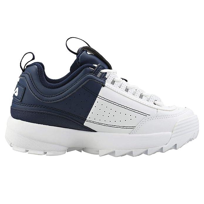 Fila Disruptor II Premium Split Mujeres Zapatillas White Navy - 3 UK: Amazon.es: Zapatos y complementos