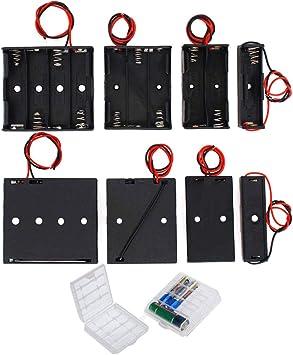 GTIWUNG 8Pc 1.5/3/4.5/6V AA Caja de Soporte de Batería Caja de Almacenamiento de Batería de Plástico, 2Pcs Caja de Batería de Plástico para AA y AAA, Caja de Almacenamiento para baterías: Amazon.es: