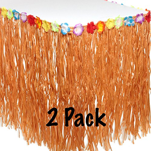 Pack Of 2 Hawaiian Luau Table Skirts - Hula Grass Table Cover With Colorful Flaux Hibiscus Flowers - 9ft X 2.5ft Dimensions - Perfect Addition To Luau Party Decorations - M & M Products Online
