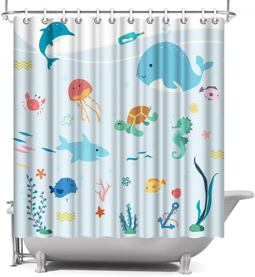 ocean cartoon animals kids bathroom shower curtain colorful fish under the sea polyester fabric with hooks 72x72 light blue