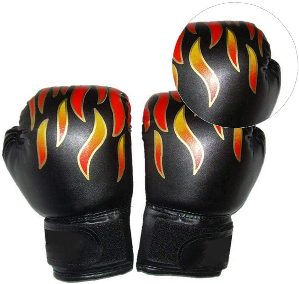 linjunddd 1 Paar Kinder Boxhandschuhe Flamme Drucken Kickbox bagwork Gel Sparring Training Handschuhe Muay Thai Style Boxsack Mitts Kampf Handschuhe Schwarz