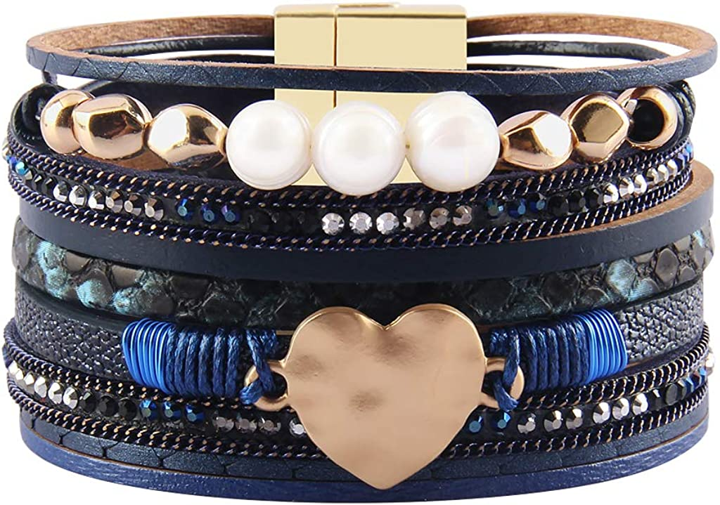 Multi Colored Leather Sterling Stone Boho Bracelet