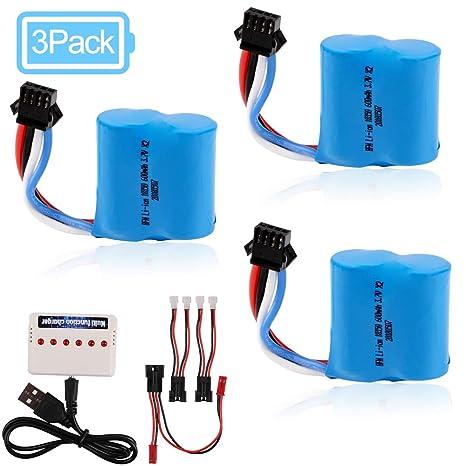Amazon.com: 3 baterías de iones de litio de 600 mAh, 3,7 V ...
