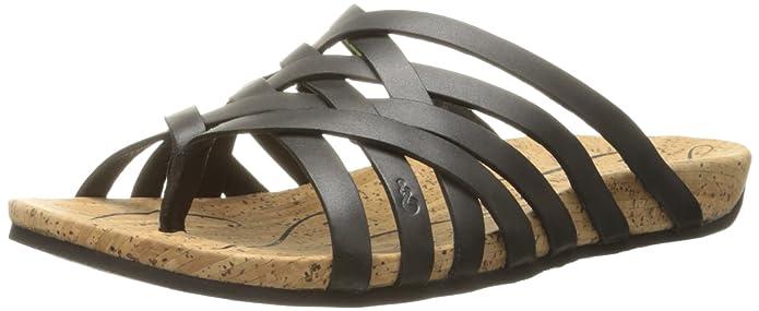 Ahnu Women's Maia Thong Sandal,Black,5 M US
