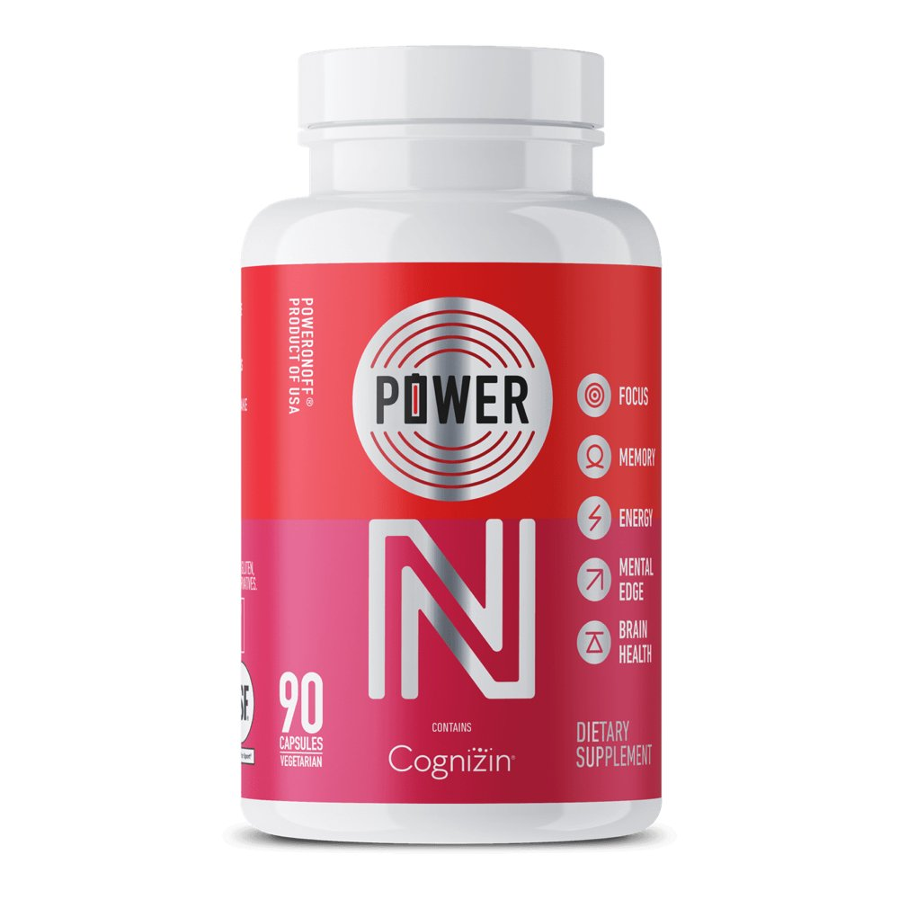 Power On Nootropic Supplement, 90 Capsules (30-Day Supply) – NSF for Sport, Natural, No Stimulants – Contains COGNIZIN Citicoline, EGCG, L-Tyrosine, and 12 other synergistic ingredients
