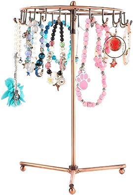 23 Crochets Présentoir de Bijoux Rotatif en Métal pour Collier Bracelet