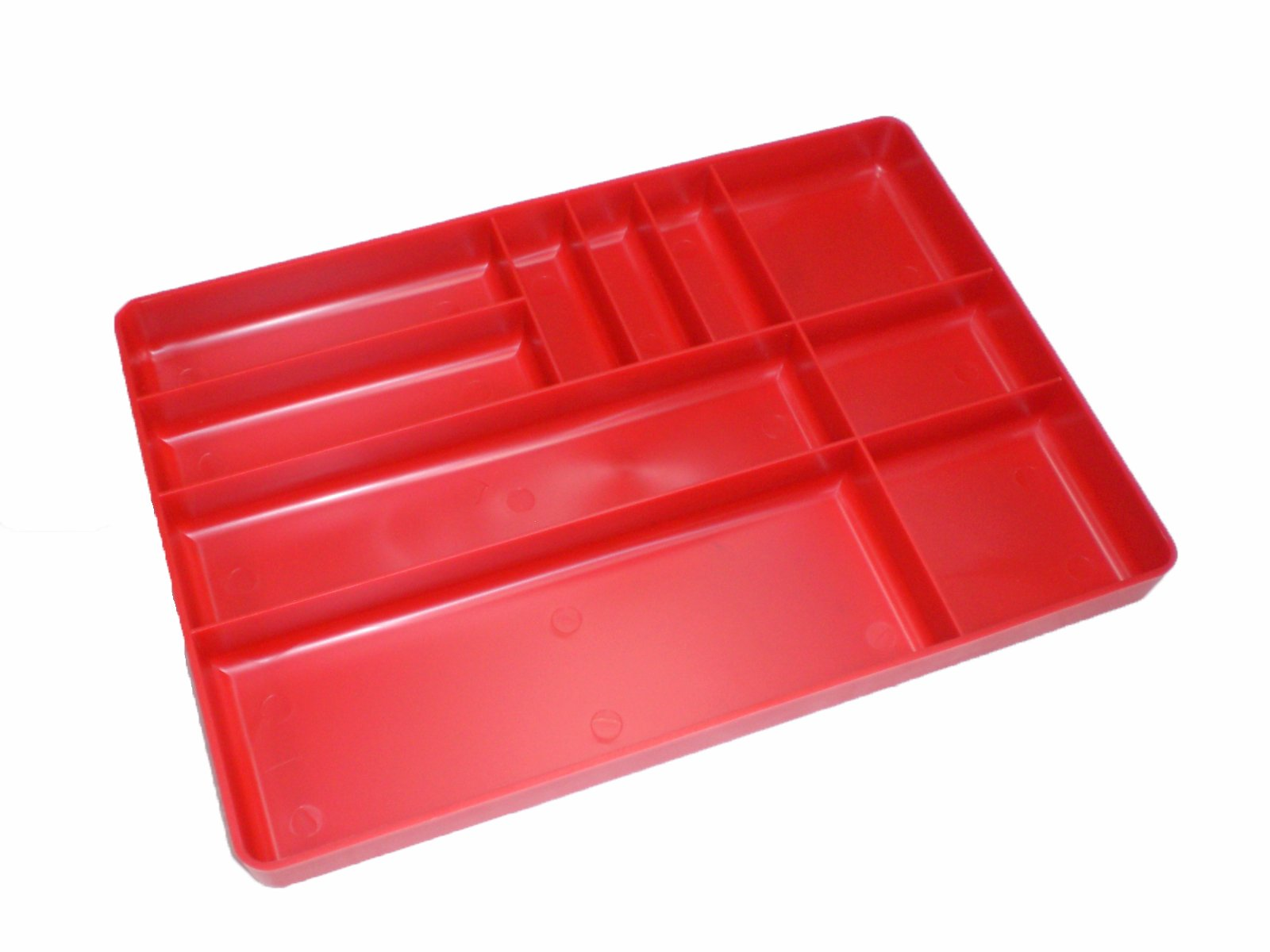 Protoco 6020 Tool Box Organization Plastic Tray with 10 Compartment, 16-Inch x 11-Inch x 1.5-Inch, Red
