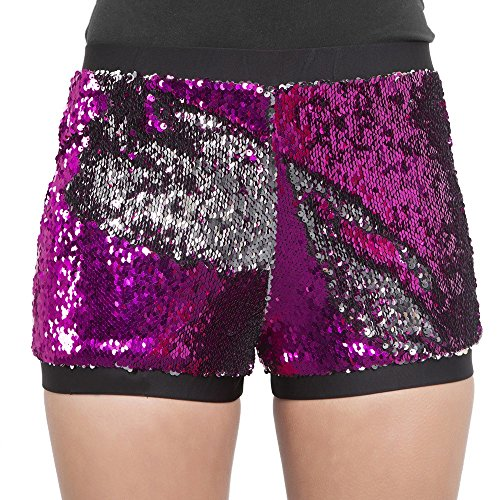 Reversible Wetsuit - Clearance Sale!FarJing Women Two Toned Reversible Mermaid Fishscale Sequin Shorts(S,Purple )