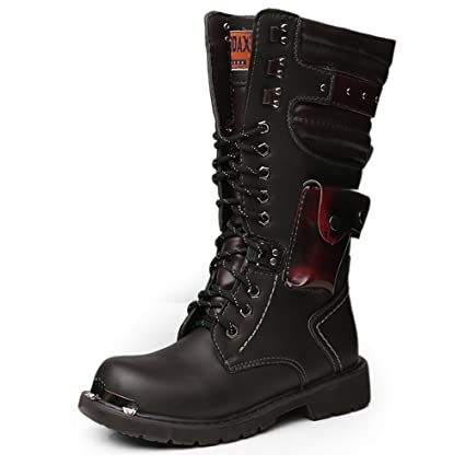 Hilotu Mens Mid Calf Rivet Strap Boots Military Lace up Combat Boots  Fashion High Tops Leather Boots (Color  Black, Size  9 D(M) US)