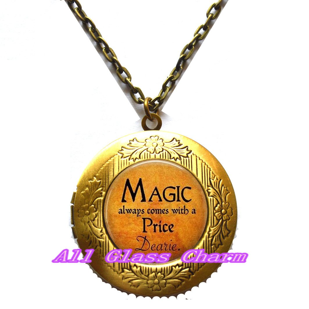 Magic Spell,EO098 Magic always comes with a Price Dearie Charming Locket Necklace,Beautiful Locket Necklace,Halloween Costume Jewelry Quote