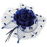 Coolwife Womens Fascinator Veil Flower Cocktail Tea Party Headwear (Dark Navy Blue)