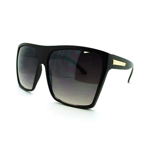 4bece4dd4 Amazon.com: Super Oversized Sunglasses Flat Top Square Frame Shades ...