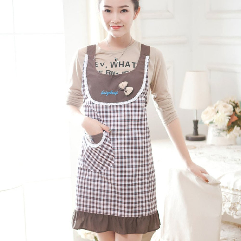 XMZDDZ One-piece Full body Apron,Long sleeve Kitchen restaurant Bib apron Women's Apron With pockets For chef kitchen bbq and grill-A