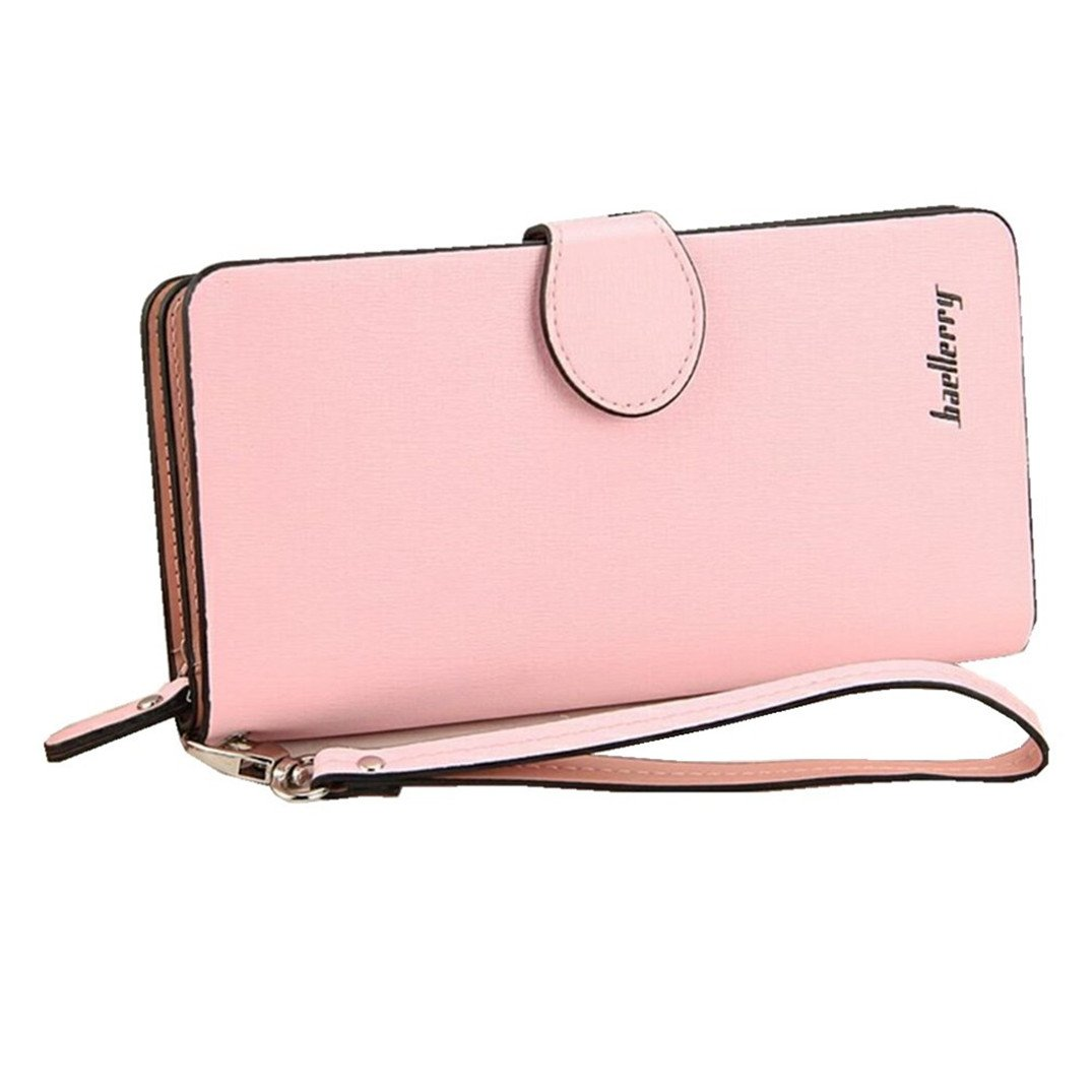 Leather Long Wallet, Zipper Wallet Multi Card Cellphone Holder Organizer Clutch Handbag for iPhone 8 plus Ladies Purse (Pink) by Coolstar (Image #1)
