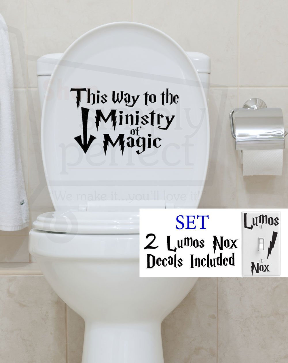 Harry Potter This Way to the Ministry of Magic with arrow Bathroom Toilet Decal by Shop Simply Perfect