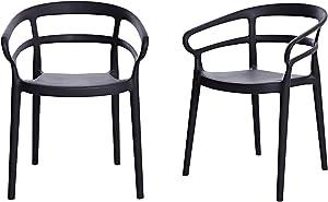Amazon Basics Dark Grey, Curved Back Dining Chair-Set of 2, Premium Plastic