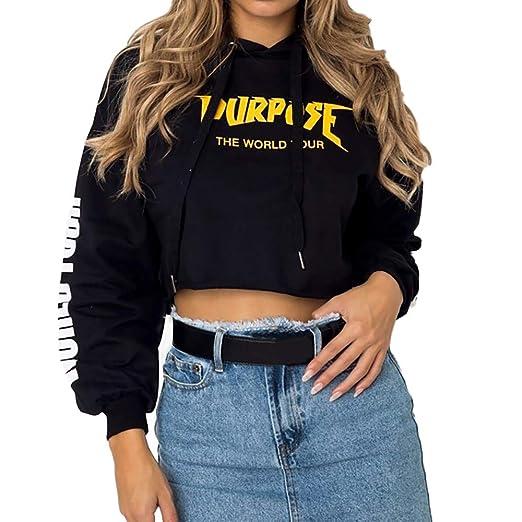 Jussunnx Women Long Sleeve Printed Hoodie Sweatshirt Jumper Sweater Crop Tops Pullover(Black,S