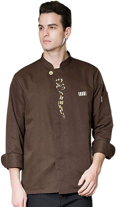 Pinji Chaqueta Chef Unisex Camisa de Cocinero Manga Larga de Verano XL marrón: Amazon.es: Ropa y accesorios