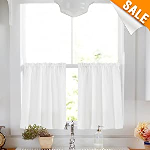 "1 Pair White Tier Curtains for Kitchen 24"" café Curtains Water Repellent Short Half Window Curtains for Bathroom Over Tub Laundry Room"