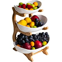 3 Tier Fruit Snack Stand, Three Ceramics Bowls Set with Wood Rack, Candy and Nut Server Display Stand, for Dessert…