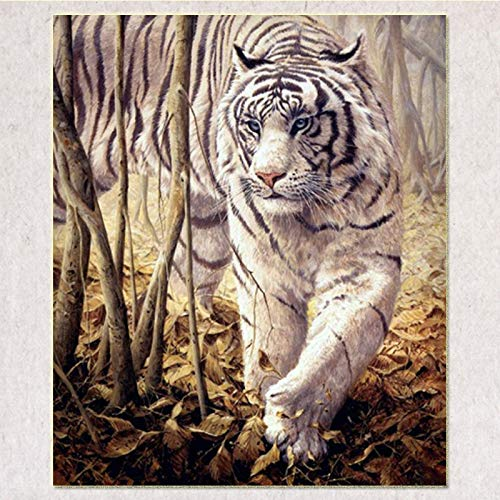 5D Diy Diamond Painting - Resin Cross Stitch Kit - Crystals Embroidery - Home Decor Craft - Animal Tiger,9.8 X 11.8 Inch(Frameless) -