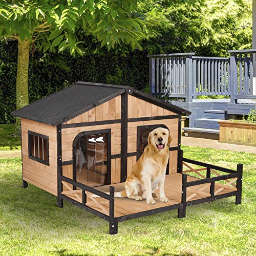 PawHut Wood Raised Outdoor Weatherproof Rustic Log Cabin Style Pet Dog House