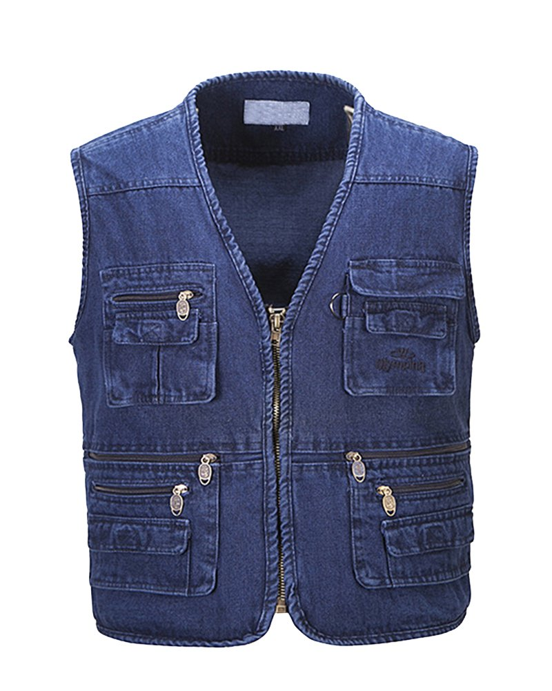 Runyue Uomo Gilet Jeans Multitasche Di Grandi Dimensioni Per Reporter Caccia Pesca Fotografi Smanicato Vest Gilet