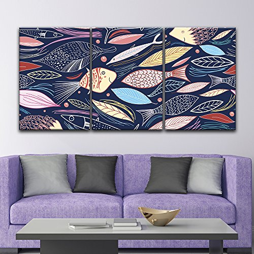 3 Panel Colorful Fish and Leaf Patterns x 3 Panels
