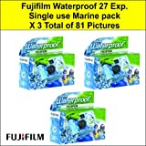 Fujifilm Waterproof Single use Camera 27 exposure - Pack of 3 for a total of 81 photos