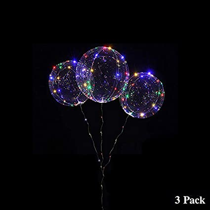Ideal for Christmas,Wedding and Birthday Party Decorations 18 Inch LED Light Up BoBo Balloons 5 Pack