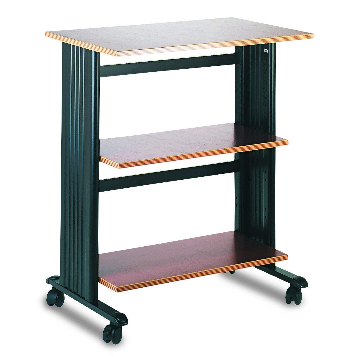 Safco Products Muv Adjustable Printer Stand 1881CY, Cherry Top/Black Frame, Swivel Wheels, Two Adjustable Shelves