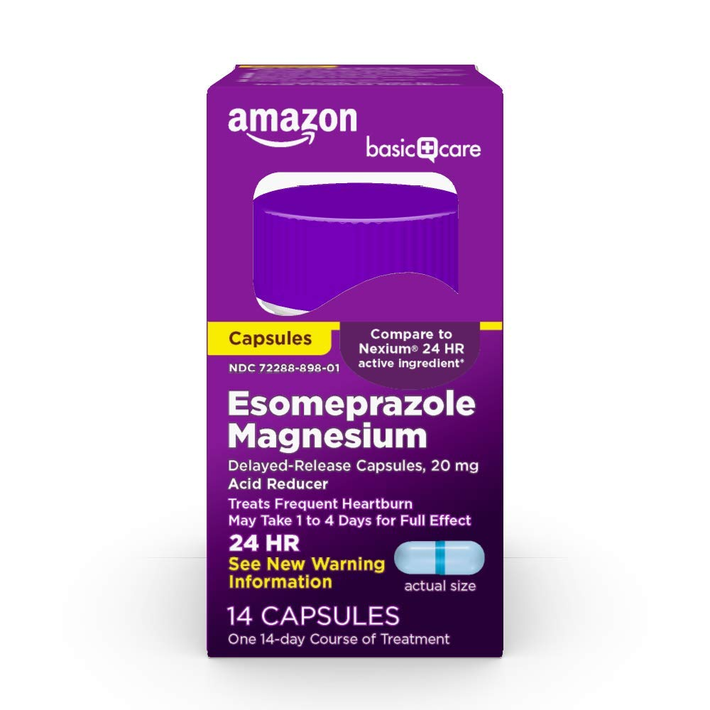 Amazon Basic Care Esomeprazole Magnesium Delayed Release Capsules- 20 mg, Acid Reducer, Blue, 14 Count (Pack of 1)