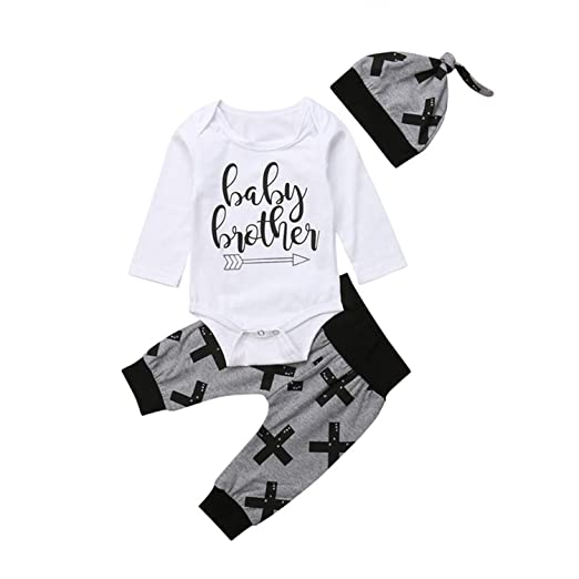 e280c162430 Amazon.com  Newborn Toddler Baby Girls Clothes Round Neck Long Sleeve  Bodysuit Cross Print Pants Geometry Hat 3pc Cotton Kids Outfits  Clothing