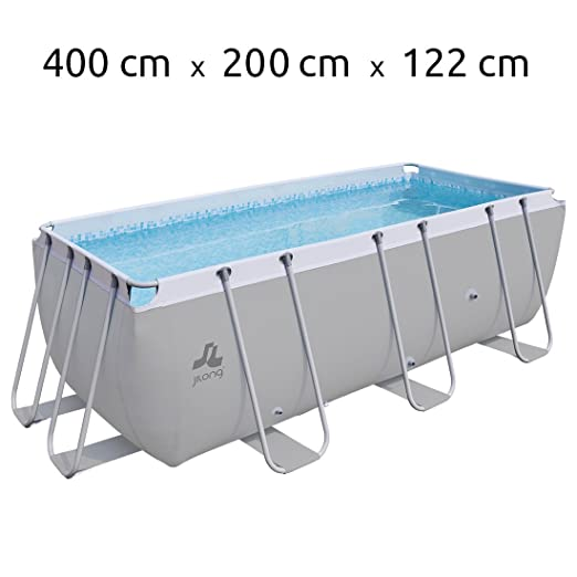 JILONG Swimming Pool Set Passaat Grey - Piscina con Armazón de Acero 400x200x122 cm con Filtro de Arena y Escalera para Piscina, pileta Familiar para Jardín ...