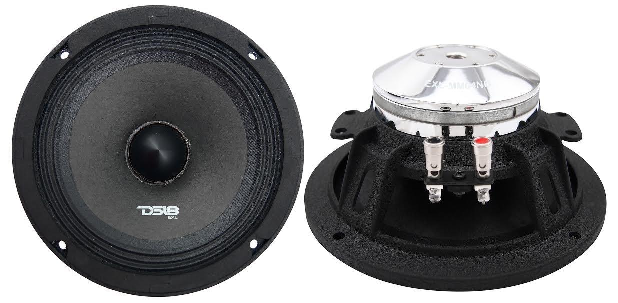 DS18 EXL-MM84NB Neodymium 8-Inch Midrange Loud Speaker 4-Ohm 500 Watts Max Extremely Loud Series - (1 Speaker)