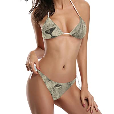 LORVIES Women's Lion Face Bikini Swimsuit Tie Side Bottom Triangle Bikini Swimsuits Two Pieces Bathing Suit