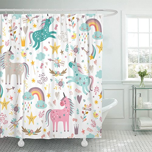 (Emvency Shower Curtain Blue Pattern Unicorns Pink Baby Girl Animal Arrow Beautiful Waterproof Polyester Fabric 72 x 72 Inches Set with Hooks )