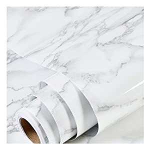 "Marble Paper 17.17"" x 78.7""- Granite Gray/White Roll Kitchen countertop Cabinet Furniture is renovated Thick Waterproof PVC Removable Waterproof Stain-Resistant Marble Contact Paper"