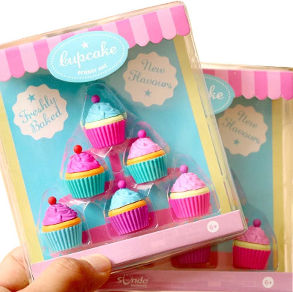 LUCHA Gomas de borrar con Aroma a Cupcake, Pack de 6 para niños ...