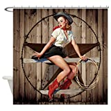 CafePress Cute Western Cowgirl Pin Up Girl Decorative Fabric Shower Curtain (69