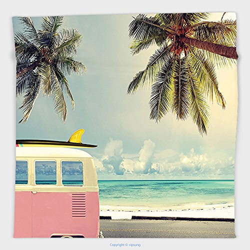Pendelton Mini (Vipsung Microfiber Ultra Soft Hand Towel-Inspirational Beach Surf Decor Minivan Retro Vacation Theme Clouds In Summer Sky Honeymoon Destination Blue Pink Gre For Hotel Spa Beach Pool Bath)