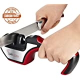 Quick Cocinero Kitchen Knife Sharpener 3 Stage Sharpening System for Kitchen Knives and Scissors Manual Sharpening Tool Kit with Diamond Coated Ceramic Knives Sharpening Wheels Multi Functional Professional Kitchen Knife Sharpeners With Ergonomic Design Non slip Base Helps Repair and Restore Knives / Red
