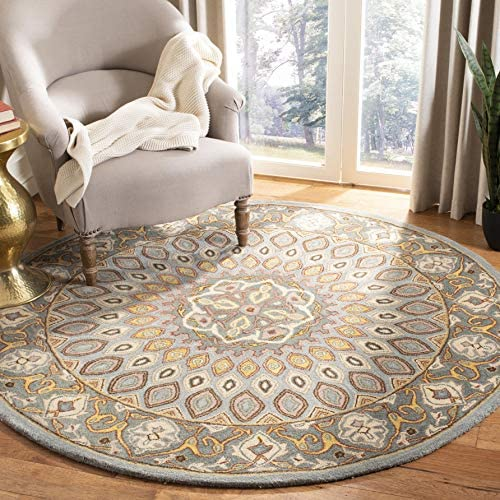 Safavieh Heritage Collection HG914B Handcrafted Traditional Oriental Blue and Grey Wool Round Area Rug 8' Diameter