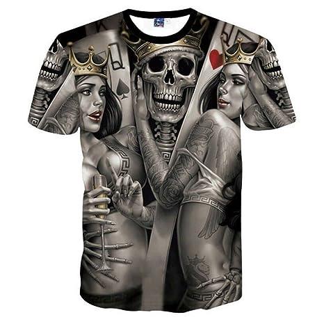 WDWY Cráneos Camiseta Hombres Mujeres 3D Camisetas Imprimir Metal Cráneos  Novia Novio Hip Hop Camiseta d70fd55177c