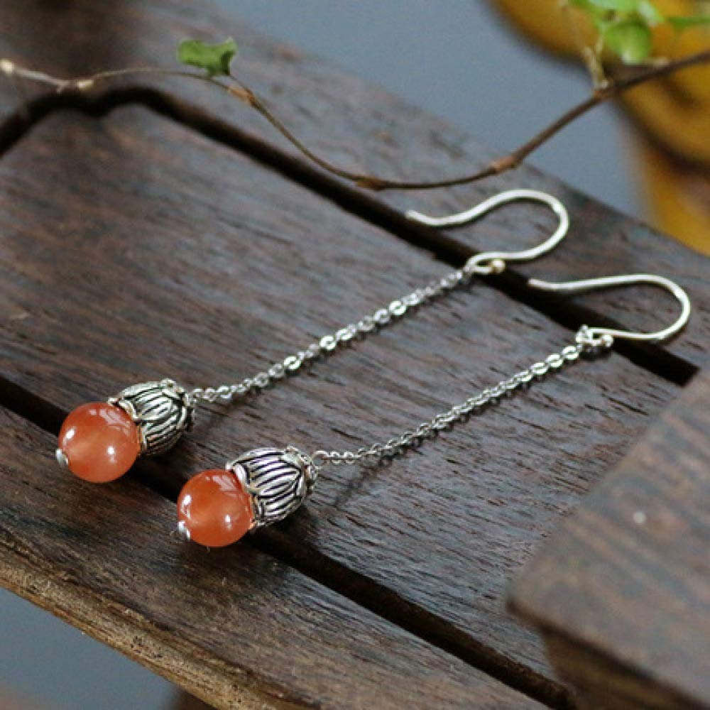Weiduoli 925 Sterling Silver Natural red Agate Ball Beads Ladies Earrings Fashion Jade Jewelry