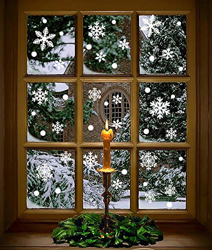Moon Boat 272PCS Christmas Snowflakes Window Clings Decals Winter Wonderland Decorations Ornaments Party Supplies (7 Sheets) (Snowy Decorations Christmas)