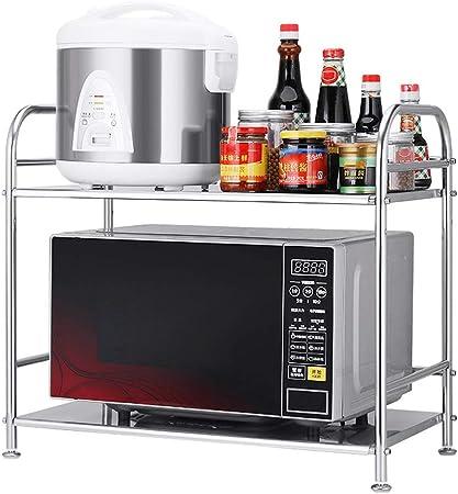 Usmascot estante de horno para microondas, estante de cocina de acero inoxidable, estante de almacenamiento de