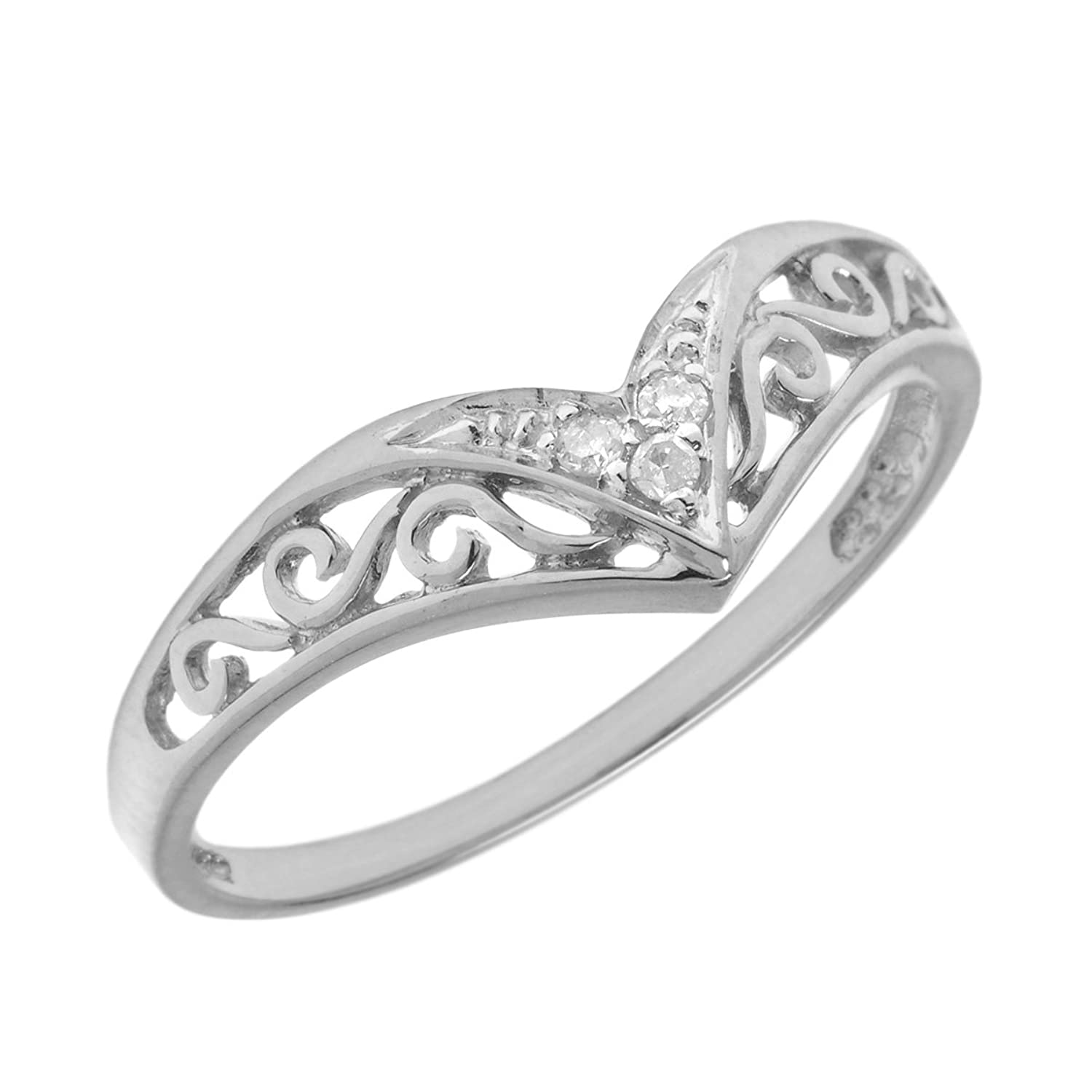 Amazon Sterling Silver Diamond Chevron Ring Promise Rings