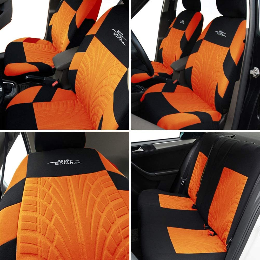 SUV Universal Fit Car Seat Protectors Tire Tracks Car Seat Accessories 9PCS, ORANGE Trucks AUTOYOUTH Seat Covers for Cars