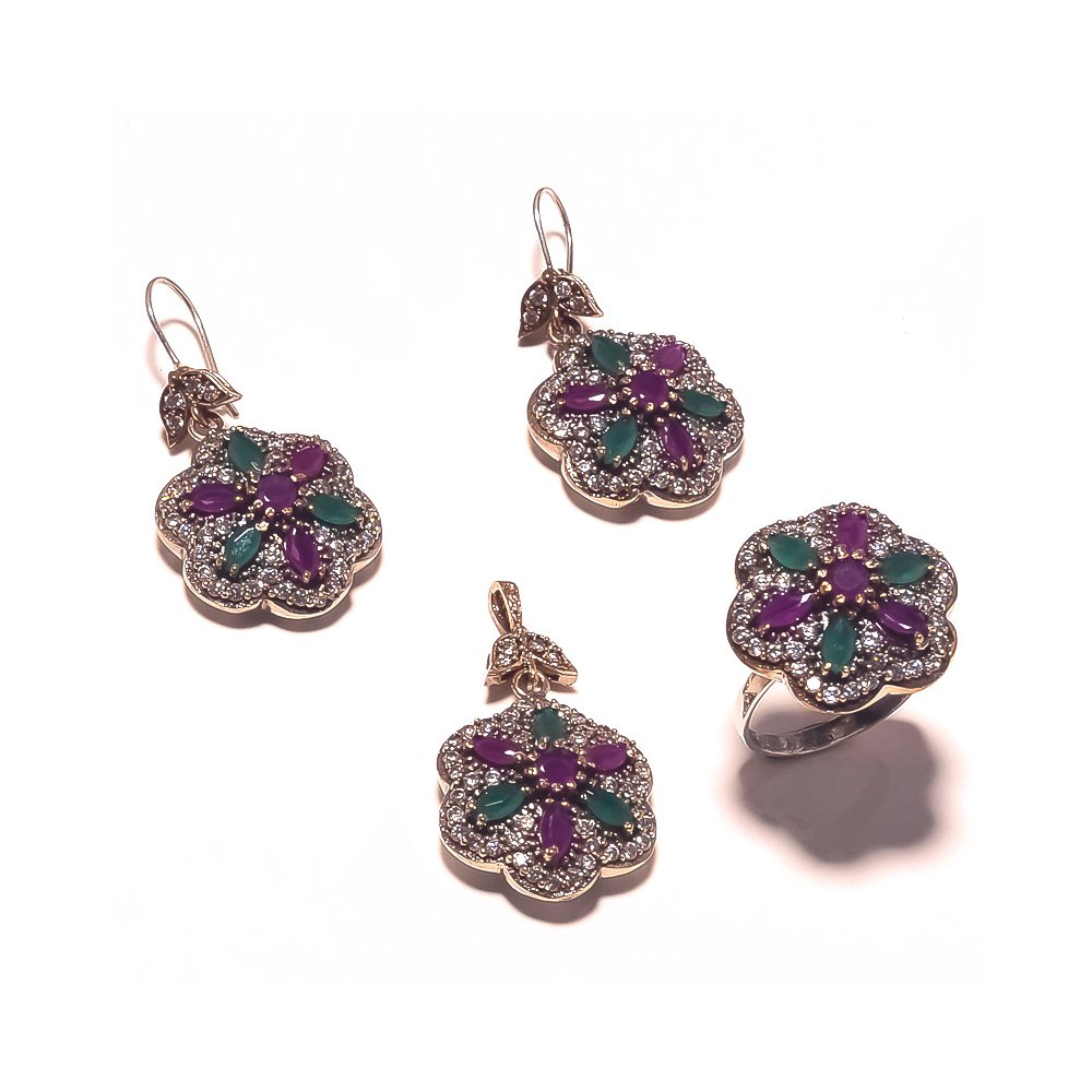 Be You Red-Green Glass Rhodium Plated Brass & Silver Turkish Earring, Ring & Pendant Set for Women